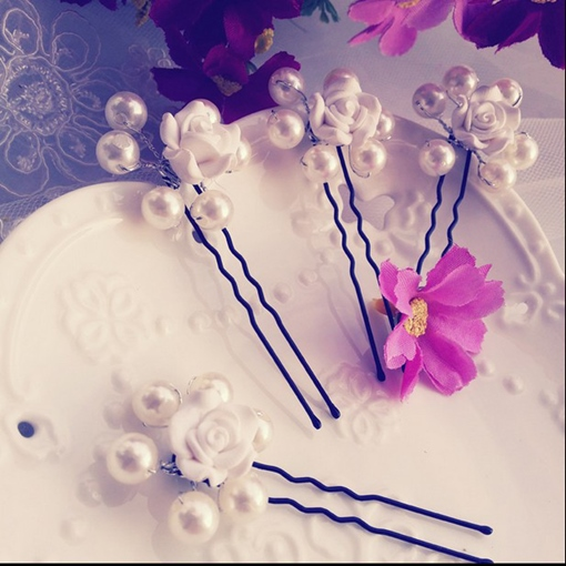 Pearl with Flower Bridal Hairpin for Each