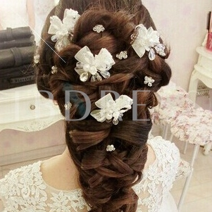 Flower with Mesh Bridal Hair Clip