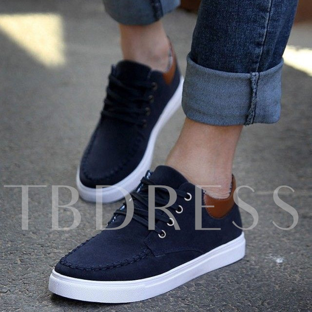 Solid Color Lace-Up Patchwork Men's Sneakers