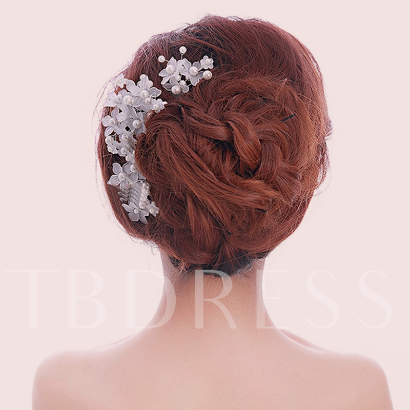 White Pearl Lace Bridal Hairpins