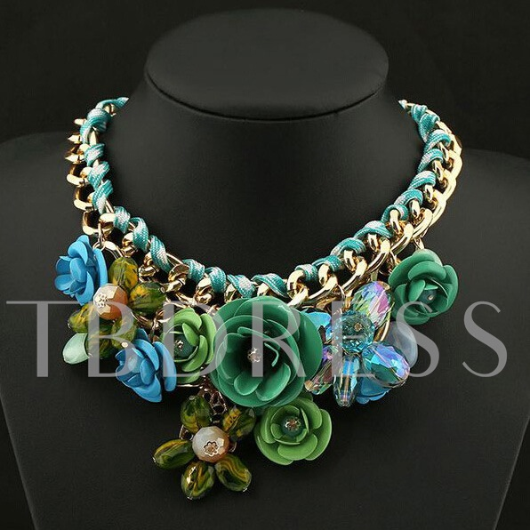 Flower-Grouped Alloy Women's Necklace
