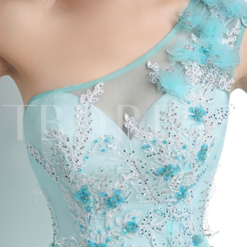 One Shoulder Bowknot Appliques Sweep/Brush Train Prom Dress