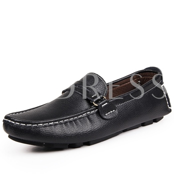 Solid Color Quilted Strap Men's Moccasin-Gommino