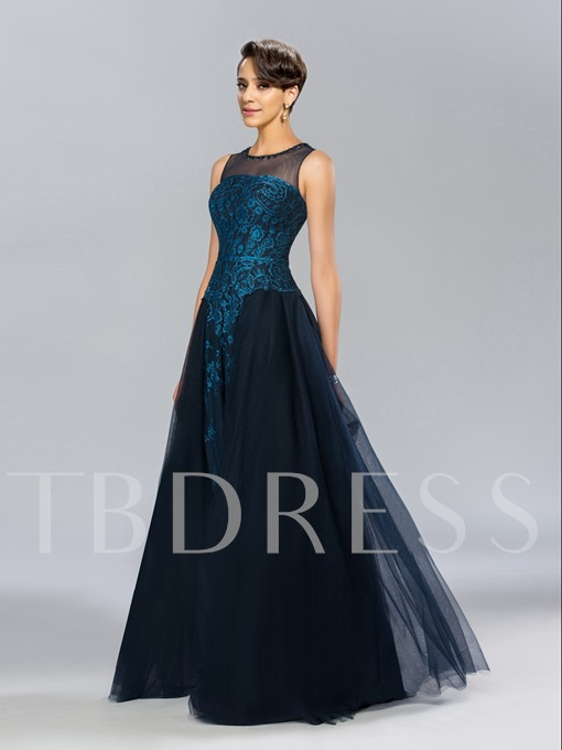 Jewel Neck A-Line Lace Floor-Length Evening Dress