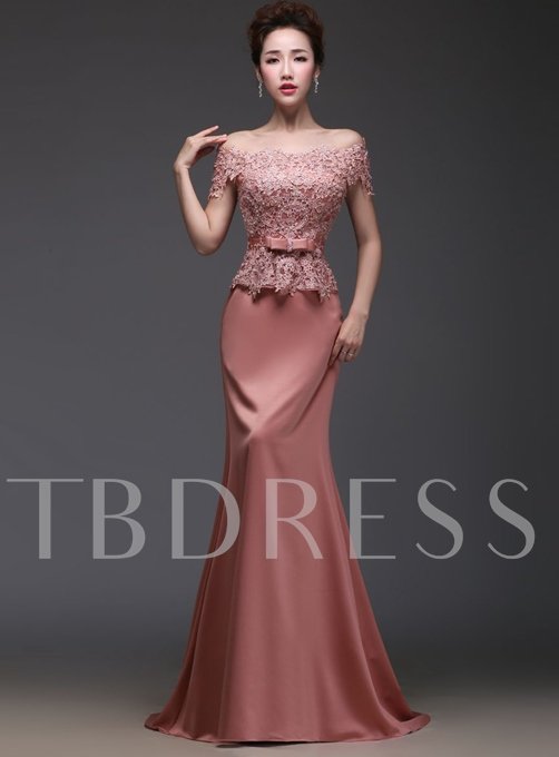 Off-the-Shoulder Lace Beadings Evening Dress