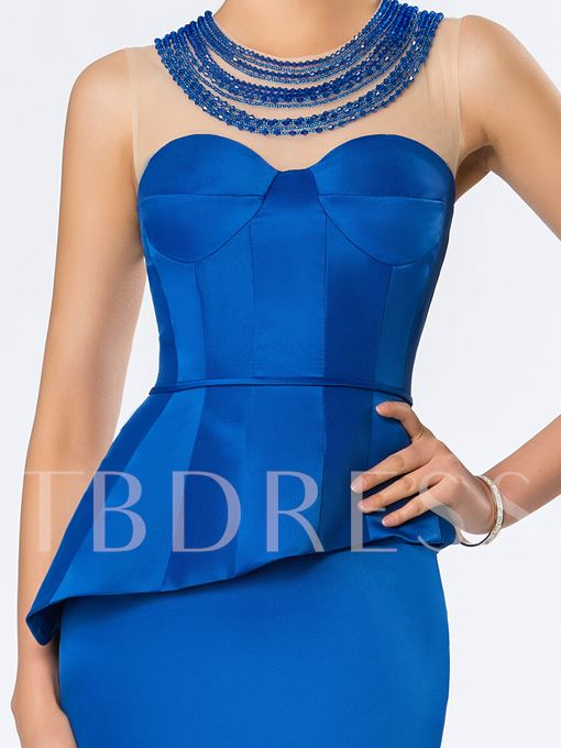 Jewel Neckline Beading Sheath Evening Dress