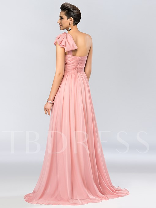 One Shoulder Ruched Bowknot Evening Dress