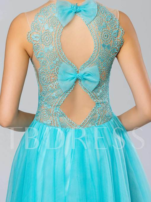 A-Line Jewel Tulle Bowknot Short Prom Dress