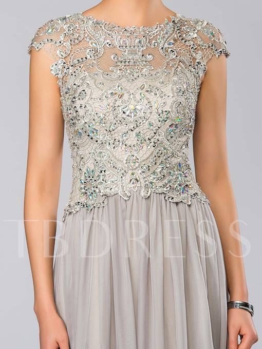 A-Line Jewel Neck Lace Evening/Mother of the Bride Dress