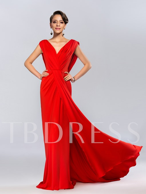 V-Neck Ruffles Backless Mermaid Evening Dress