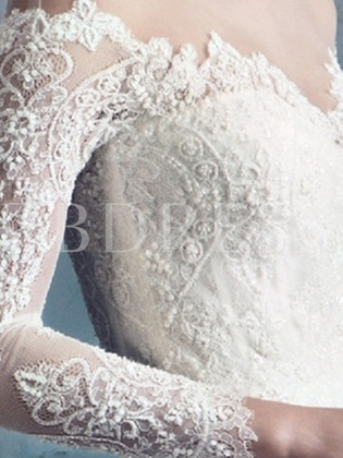 Sheer Neck Beading Lace Long Sleeve Wedding Dress