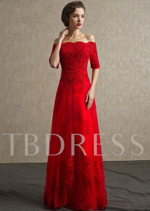 A-Line Off-the-Shoulder Appliques Sequins Evening Dress