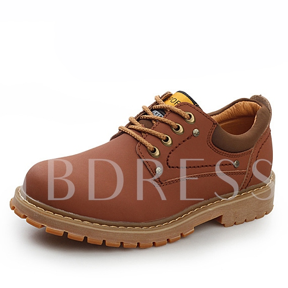 Round Toe Lace-Up Solid Color Men's Ankle Boots