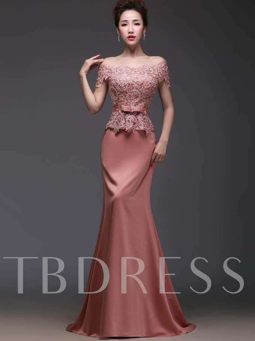 Off-the-Shoulder Lace Beadings Mermaid Evening Dress