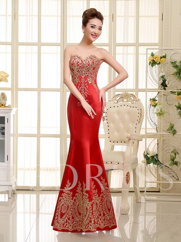 Mermaid Sweetheart Neckline Appliques Evening Dress