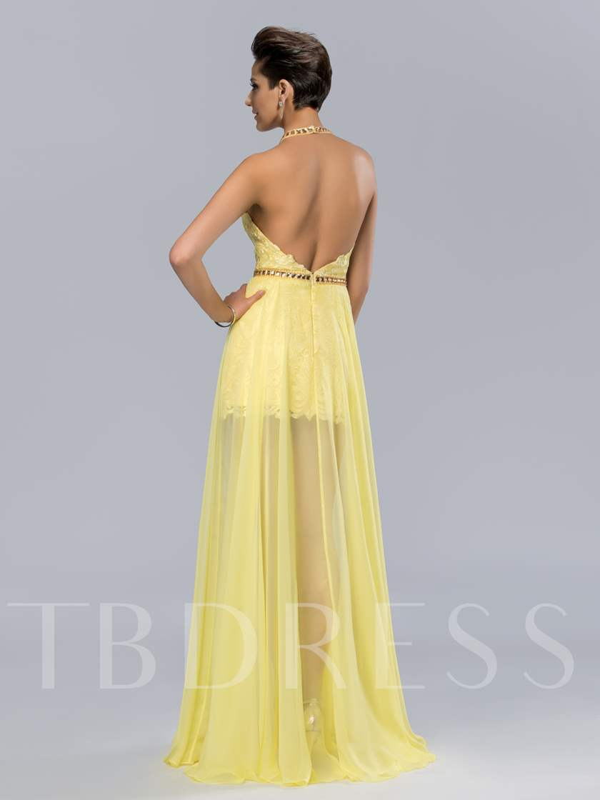 Halter Neck Backless High Low Lace Prom Dress