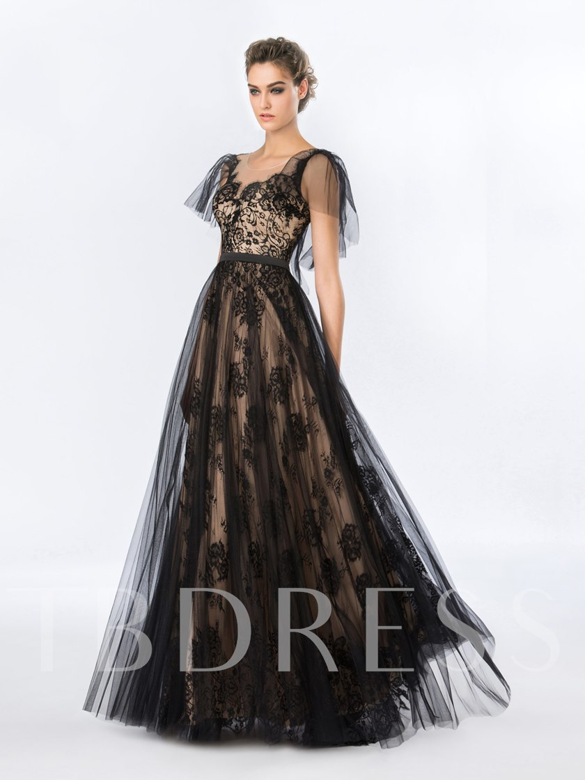 Cap Sleeves Black Lace Evening Dress