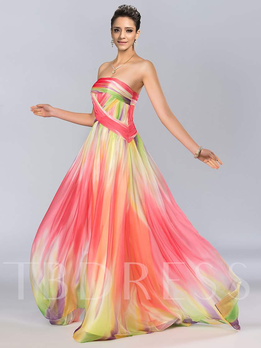 A-line Bateau Tulle Split-Front Floor-Length Evening Dress