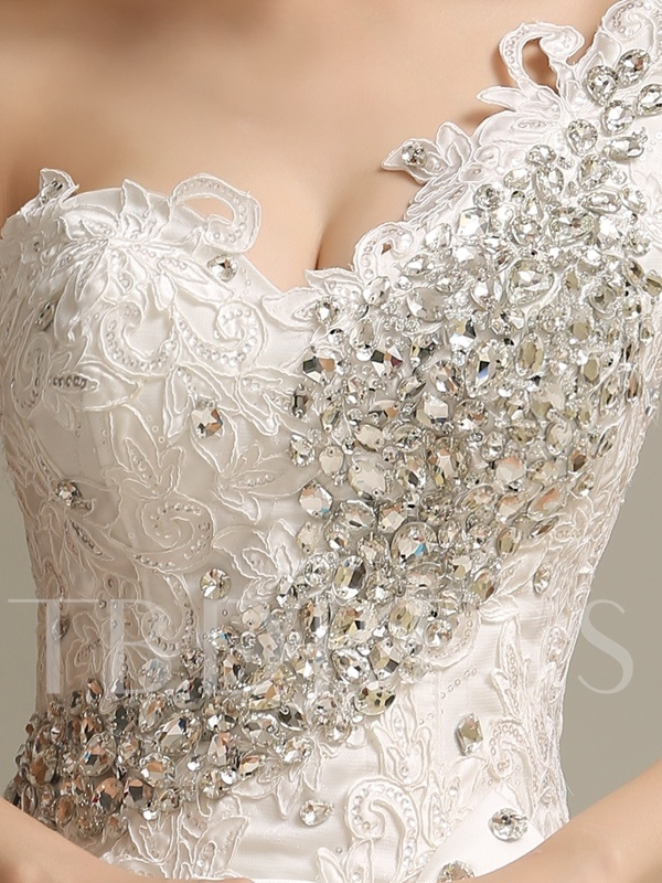One Shoulder Beading Ball Gown Appliques Wedding Dress