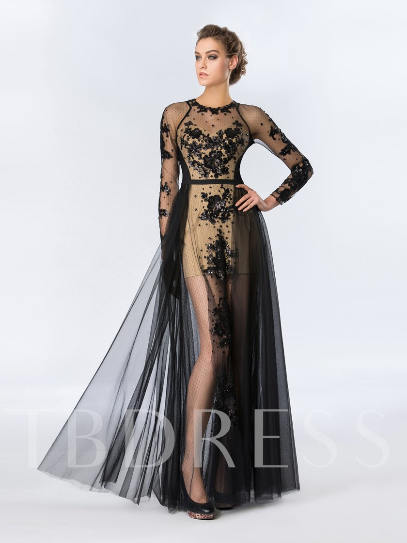 Sequins Appliques Long Sleeves Evening Dress