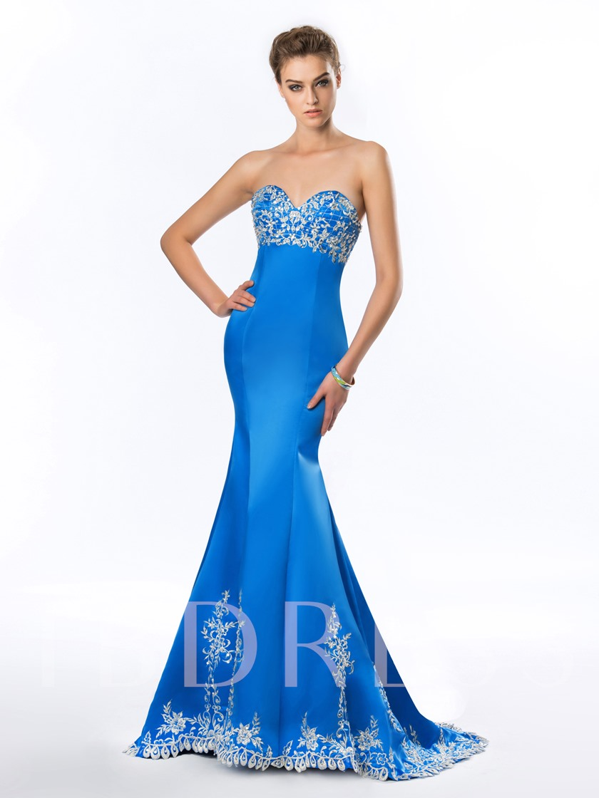 Sheath Sweetheart Embroidery Zipper-Up Evening Dress