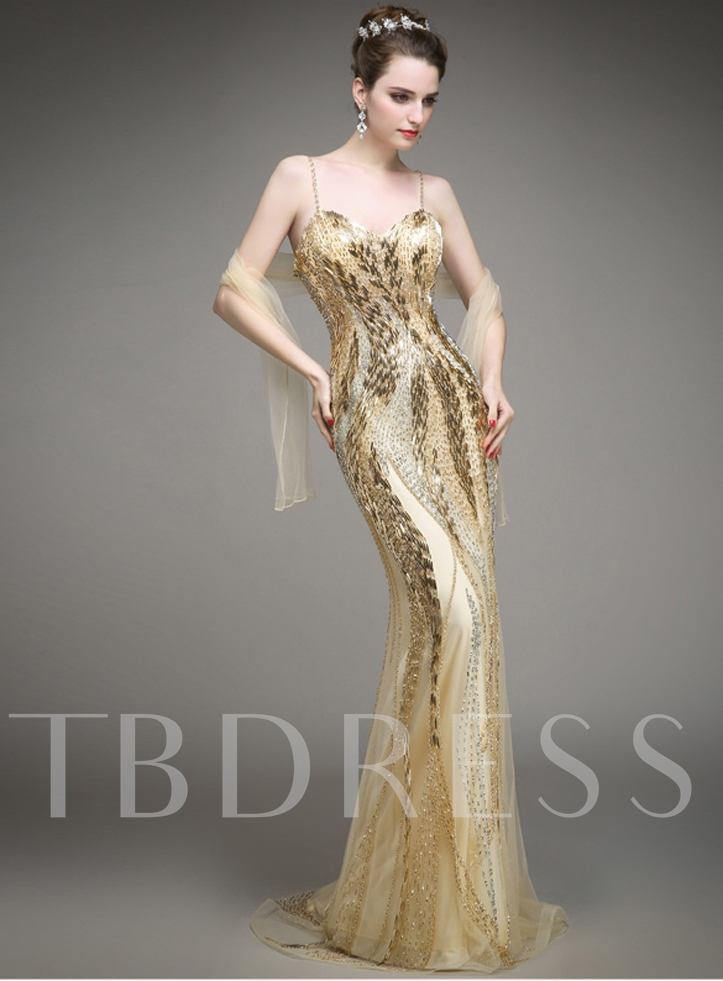 Sparkling Spaghetti Straps Beadings Mermaid Evening Dress