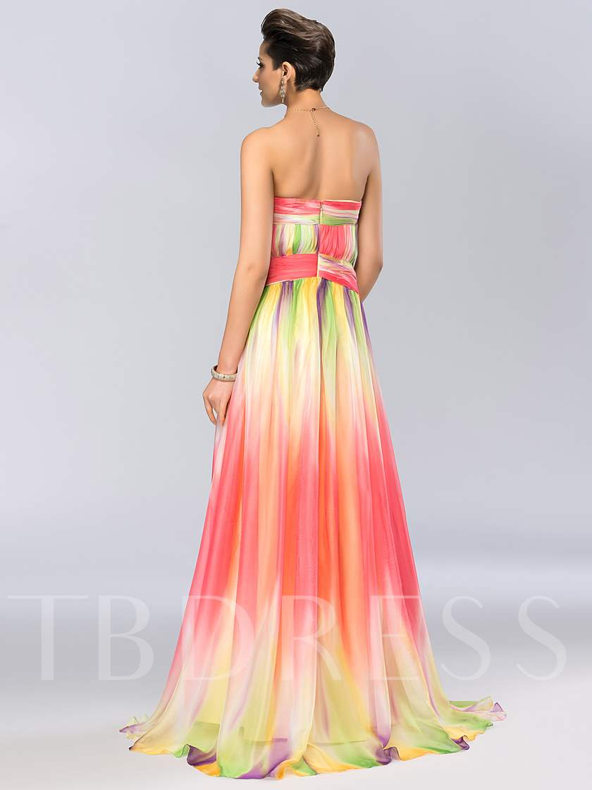 A-Line Strapless Print Prom Dress