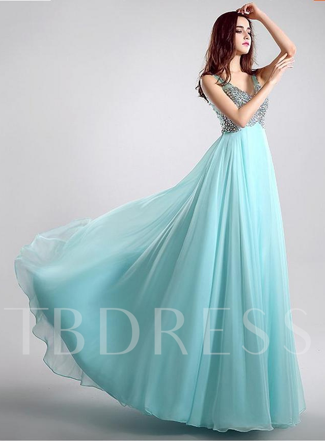 A-Line Rhinestone V-Neck Floor-Length Prom Dress