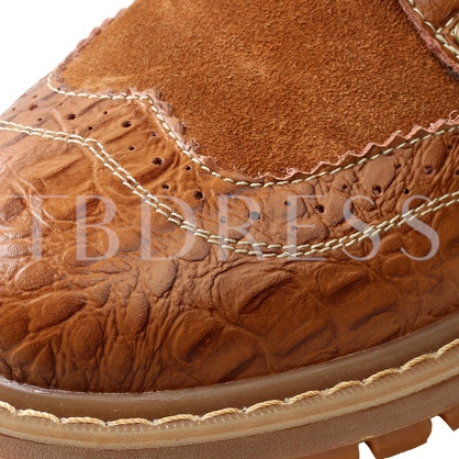 Embossed Patchwork Lace-Up Men's Martin Boots