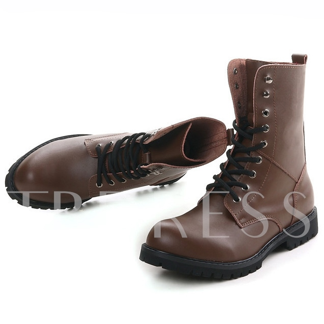 Solid PU Lace-Up Men's Winter Boots