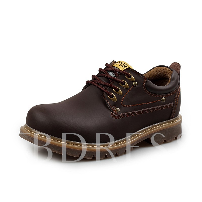Round Toe Solid Color Men's Martin Boots