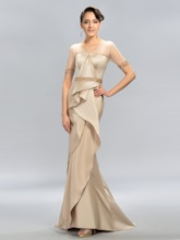 Sheer V-Neck Beaded Mermaid Evening Dress
