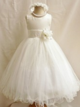 Ankle-Length A-Line Flower Ruffles Flower Girl Dress