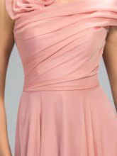 Flower One Shoulder Short Sleeve A-Line Prom Dress