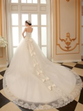 Strapless Cathedral Train Wedding Dress