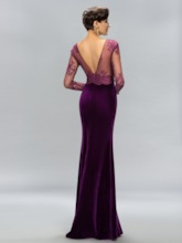 Mermaid Velvet V-Neck Lace Split-Front Evening Dress