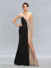 A-line Sweetheart Ruched Split-Front Evening Dress