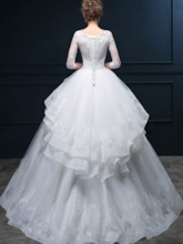 3/4 Length Sleeves Tiered Lace Wedding Dress