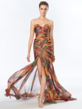 Strapless Printed Split-Front Evening Dress