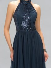 A-Line Halter Floor-Length Sequins Evening Dress