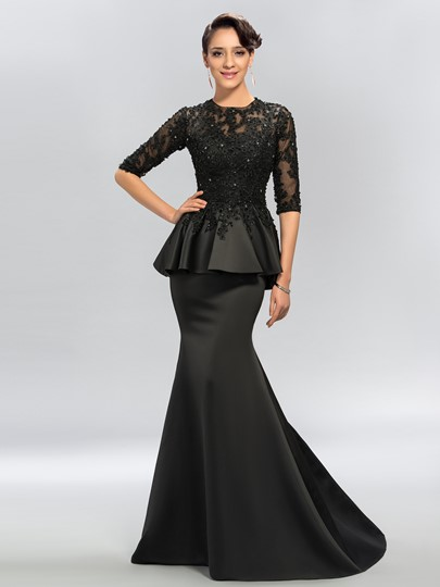 Trumpet Jewel Appliques Half Sleeves Evening Dress