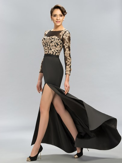 Long Sleeves Mermaid Split-Front Evening Dress