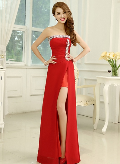 Sheath Beading Ruched Split-Front Evening Dress