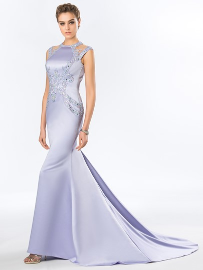 Mermaid Backless Beadings Court Train Evening Dress