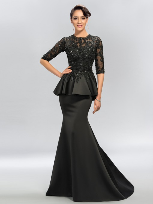 Trumpet Jewel Appliques Half Sleeves Evening Gowns
