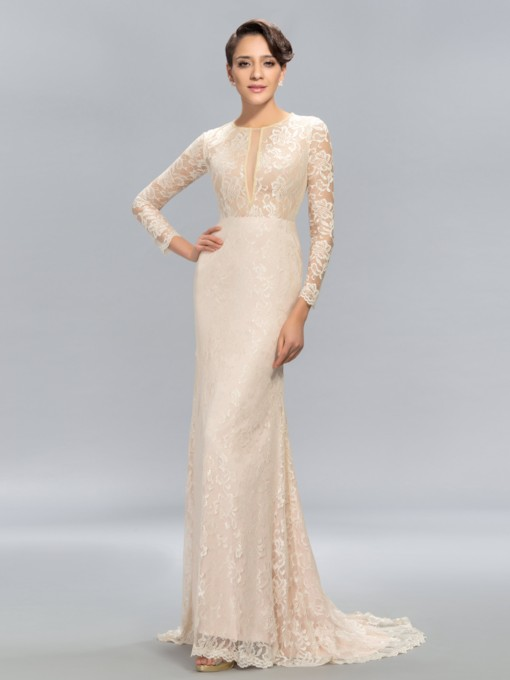 Mermaid A-line Jewel Neck Lace Court Train Evening Dress
