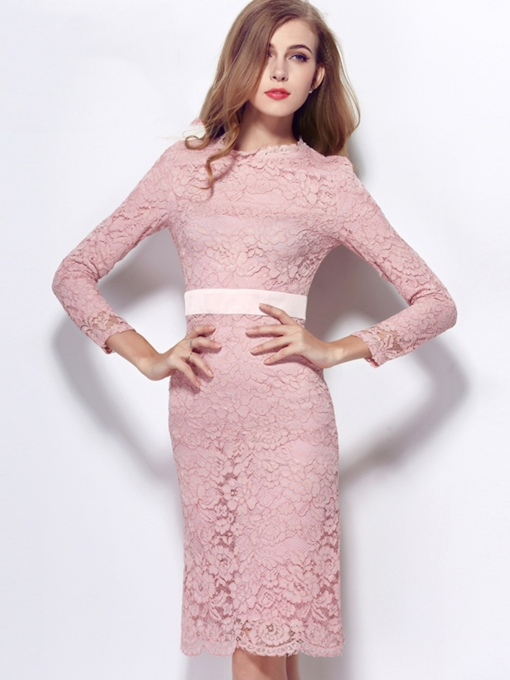 Sheath Long Sleeves Lace Jewel Neck Knee-Length Cocktail Dress