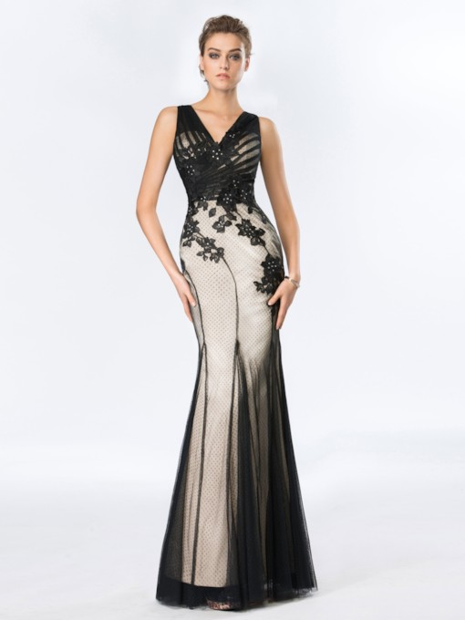 Sheath Beading Appliques Black Evening Dress