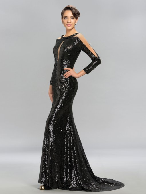 Long Sleeves Mermaid Black Sequins Evening Dress