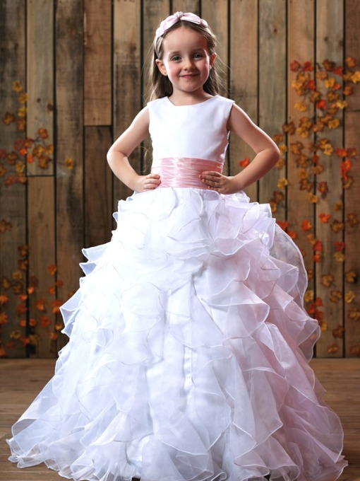 Ball Gown Cascading Ruffles Flower Girl Dress